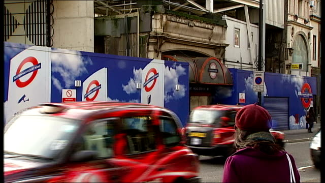 london underground's 150th anniversary marked with burial of time capsule; ext traffic along outside tottenham court road station under construction - tottenham court road stock videos & royalty-free footage