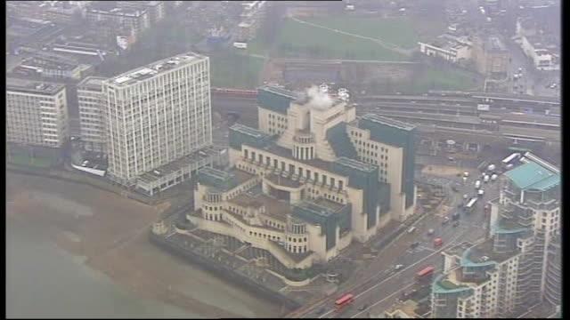 london: vauxhall: ext **sir john sawers speech overlaid sot** air view of mi6 building - mi6 stock-videos und b-roll-filmmaterial