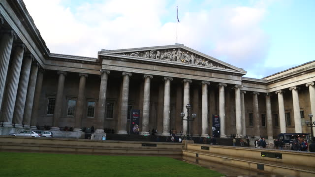 london, view of the main entrance of the british museum. - tourism stock videos & royalty-free footage