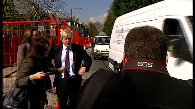 wandsworth: ext graphicised seq various of seeminlgy abandoned roadworks blocking traffic boris johnson posing with theresa villiers mp next... - road closed sign stock videos & royalty-free footage