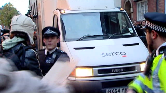 london: wandsworth prison: ext prison van along to prison with press and protestors around john pilger speaking to press - pilger stock-videos und b-roll-filmmaterial