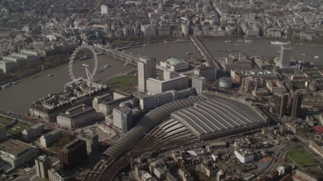 aerial london waterloo, london eye and river thames, england - 2007 stock videos & royalty-free footage