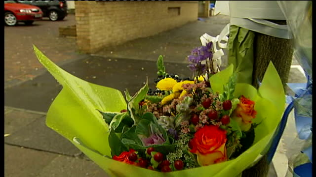 west norwood: ext chalk markings on pavement where a 15-year-old boy fell off his moped during a police chase, floral tribute attached to post chalk... - reflector stock videos & royalty-free footage