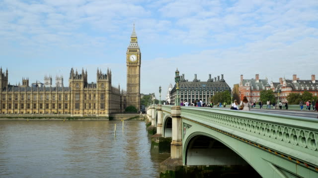 london westminster bridge and big ben (hd) - big ben stock videos and b-roll footage