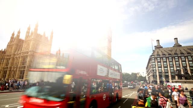 london westminster bridge with big ben, time lapse - big ben stock videos & royalty-free footage