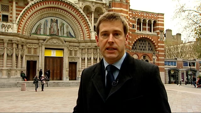westminster cathedral: ext reporter to camera - westminster cathedral stock videos & royalty-free footage