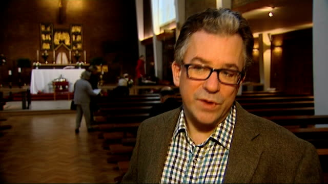 westminster cathedral: int austen ivereigh interview sot - westminster cathedral stock videos & royalty-free footage
