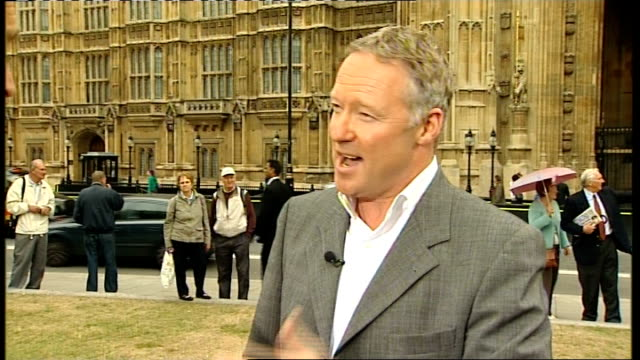 westminster: college green: ext rory bremner interview sot - gives his interpretation of gordon brown 'leadership crisis'current spate of cabinet... - rory bremner stock videos & royalty-free footage