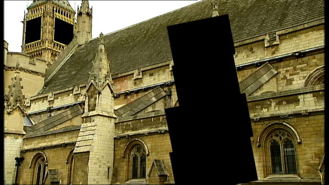 vidéos et rushes de westminster: ext graphicised sequence houses of parliament with sections 'blacked out' - blacked