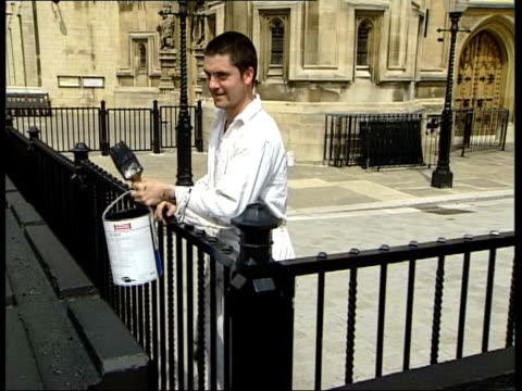 london westminster ext security barriers outside houses of parliament gv concrete barriers tilt up palace of westminster seq barriers painted black... - top of the pops stock videos & royalty-free footage