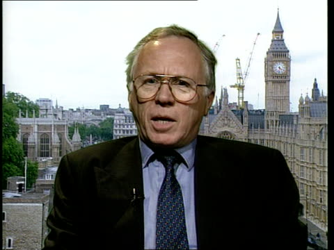 london westminster jeff rooker mp interview sot talks of genetic modification trials being carried out according to guidelines / talks of benefits of... - health and safety点の映像素材/bロール
