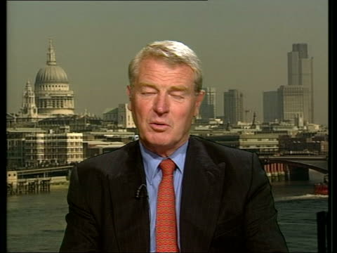 vídeos de stock e filmes b-roll de london: westminster: int lord ashdown interviewed sot - necessary to have clear aim for this operation and rules of engagement - nato has done well... - 30 seconds or greater