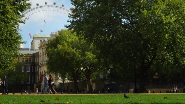 London Whitehall And Millennium Wheel From St. James's Park (UHD)