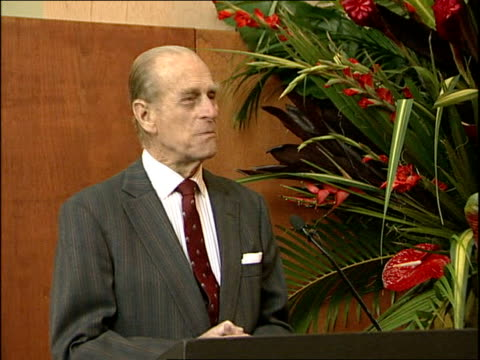 duke of edinburgh opens new gorilla enclosure int prince philip speech sot well as a previous president i was delighted to be asked to open this... - thank you stock videos and b-roll footage