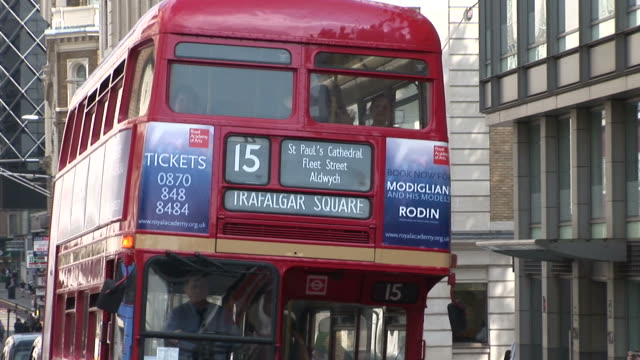 LondonDouble Decker bus in City Street of London United Kingdom