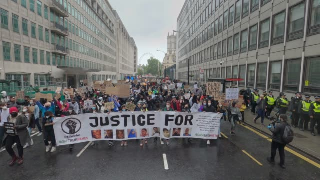 londoners come out to march in support of the black lives matter campaign on june 6th, 2020 in london, england. the death of an african-american man,... - anxiety stock videos & royalty-free footage