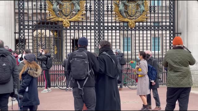 londoners lay flowers in front of the buckingham palace for commemoration prince philip on saturday. prince philip, the duke of edinburgh, has died,... - reclining stock videos & royalty-free footage