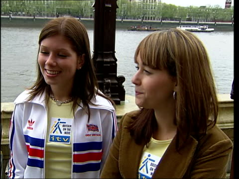 londoners told to get on the move in keep fit campaign; itn england: london: ext samia ghadie interview with nikki sanderson at her side sot - when i... - plc stock videos & royalty-free footage
