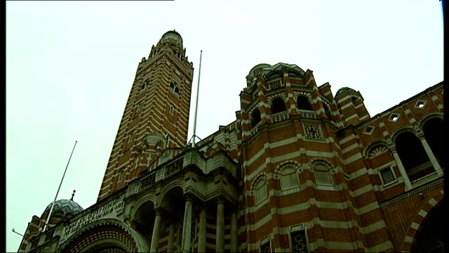 london's westminster cathedral suffering from major structural problems: funding appeal launched; ext general views of westminster cathedral building - westminster cathedral stock videos & royalty-free footage