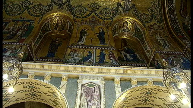 london's westminster cathedral suffering from major structural problems: funding appeal launched; ornate marble and mosaic decoration - westminster cathedral stock videos & royalty-free footage