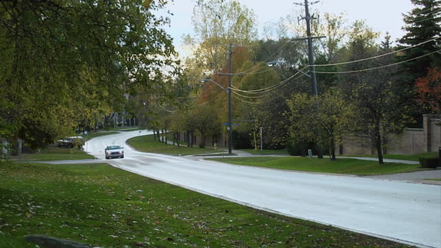 TS Lone car moving along wet, tree lined suburban street / Ontario, Canada