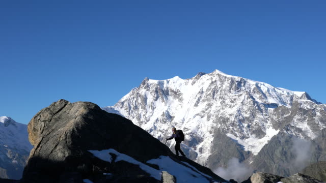 Lone climber in the Alps