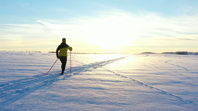 lone female cross country skiing - winter sport stock videos & royalty-free footage
