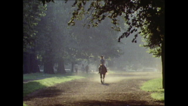 lone horse and rider on dusty trail in hyde park; 1971 - horse family stock videos & royalty-free footage
