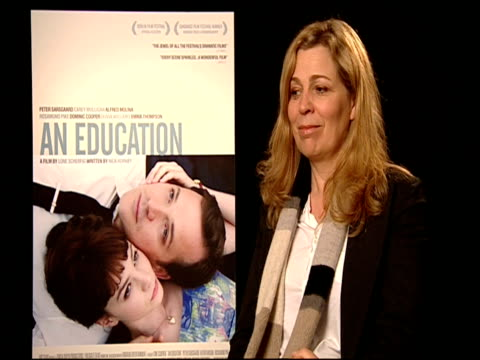 lone scherfig on how well the film has been received by the critics and audiences at the 59th berlin film festival: an education interviews at berlin... - 評論家点の映像素材/bロール