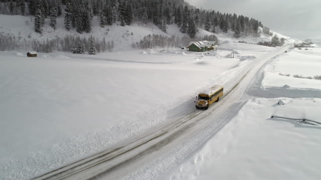 a lone school bus on a snowy rural road - bus stock videos & royalty-free footage