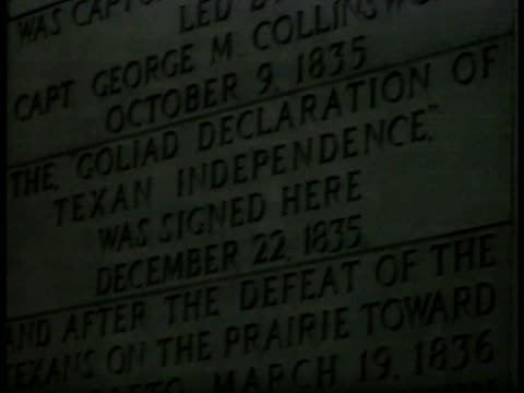 us lone star flags ws monument of texas republic cu memorial inscription 'declaration of texan independence signed here dec 22 1835' vs capitol... - border patrol stock videos & royalty-free footage