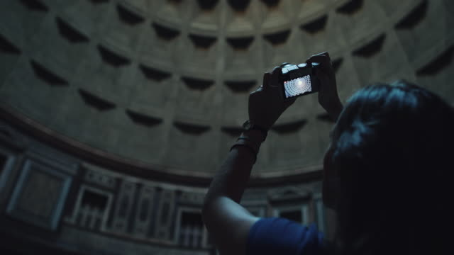 lone tourist woman photographing rome - pantheon rome stock videos and b-roll footage