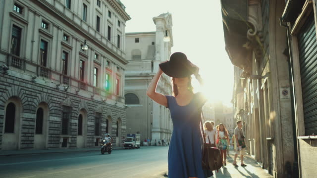 lone traveler tourist woman in rome - elegance stock videos & royalty-free footage