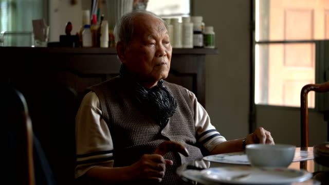 loneliness boredom old asian man has nothing to do in daily life - sad old asian man stock videos & royalty-free footage