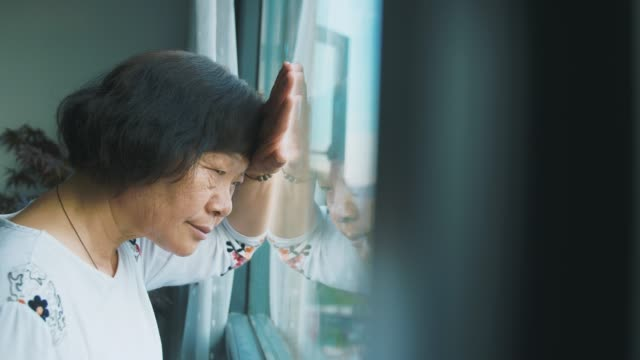 loneliness senior woman by window - only senior women stock videos & royalty-free footage