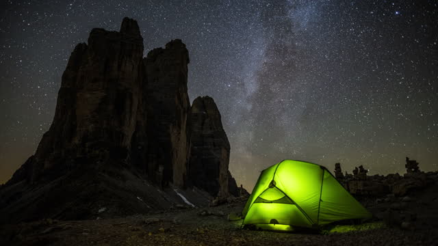 lonely camper under milky way - time lapse - camping stock videos & royalty-free footage