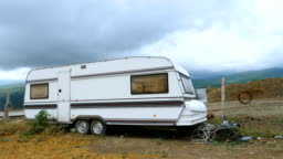 Lonely caravan in the mountains.