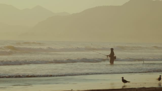 lonely fisherman fishing from the beach - surf fishing stock videos & royalty-free footage