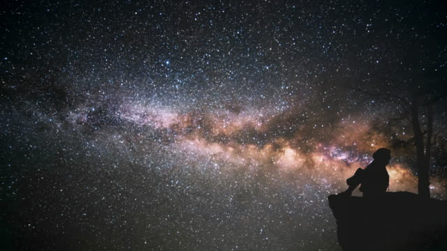 lonely girl watching the milky way - in silhouette stock videos & royalty-free footage