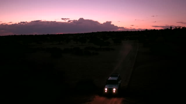 a lonely  is driving through the kalahari desert at night - fanale anteriore video stock e b–roll
