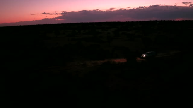 a lonely  is driving through the kalahari desert at night - headlight stock videos and b-roll footage