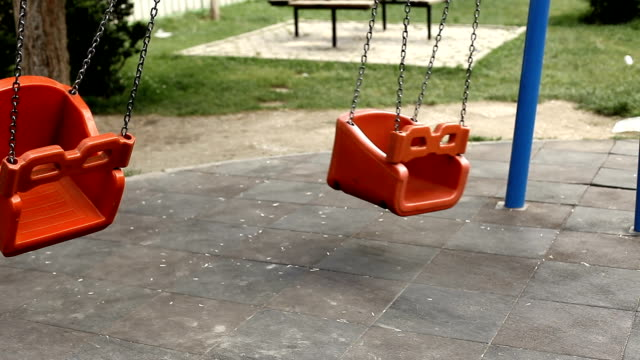 Lonely Swing in Kindergarten Park