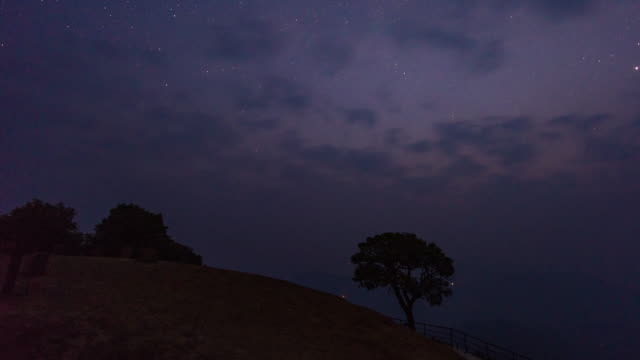 lonely tree on mountain, dawn to day time lapse video - astronomy stock videos & royalty-free footage