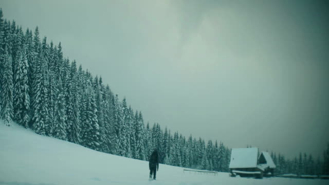lonely walk in deep snow - mystery stock videos & royalty-free footage