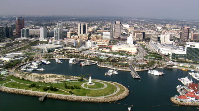 long beach  - aerial view - california,  los angeles county,  united states - long stock videos & royalty-free footage