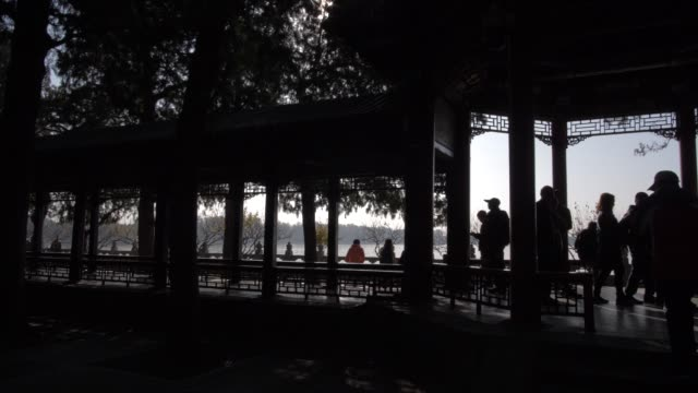 long corridor (chang lang) in the summer palace, unesco world heritage site, beijing, people's republic of china, asia - summer palace beijing stock videos & royalty-free footage