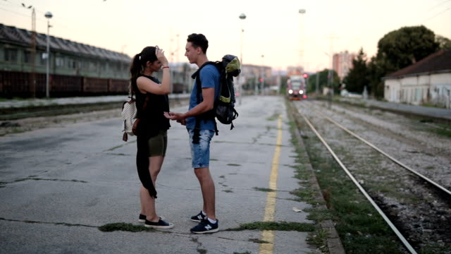 long distance love - railway station platform stock videos & royalty-free footage