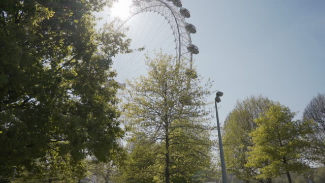 a long dolly shot on the london south bank, in spring - millennium wheel stock videos & royalty-free footage