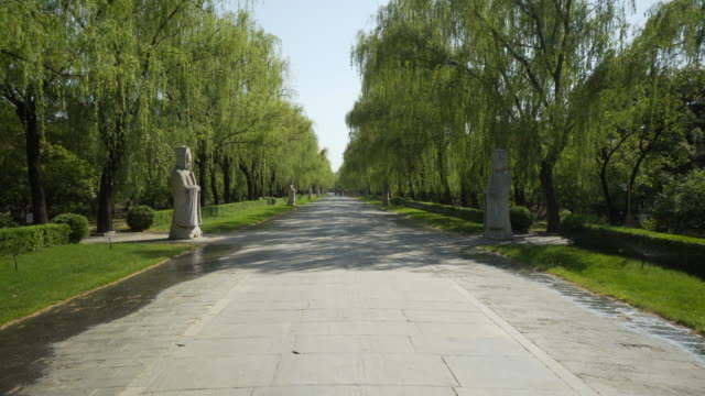 long empty sacred way amidst stone chinese warrior statues - beijing, china - ming tombs stock videos and b-roll footage