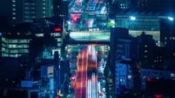 4K Long Exposure Night Traffic Timelapse taken from Roppongi Hills Mori Tower, Tokyo, Japan